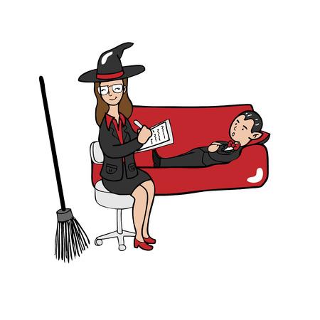 psychiatrist: Witch psychiatrist vampire cartoon vector