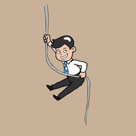 shortcut: Businessman climbing shortcut by rope
