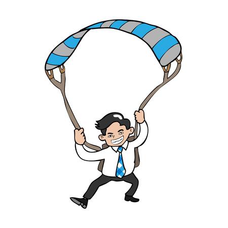 Businessman flying parachute cartoon vector Vector