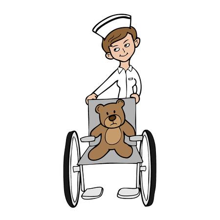 Nurse veterinary wheelchair bear Vector