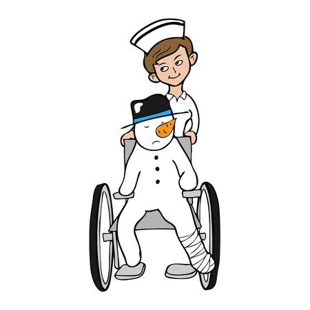 nursing uniforms: Silla de ruedas Enfermera del mu�eco de nieve pierna rota Vectores