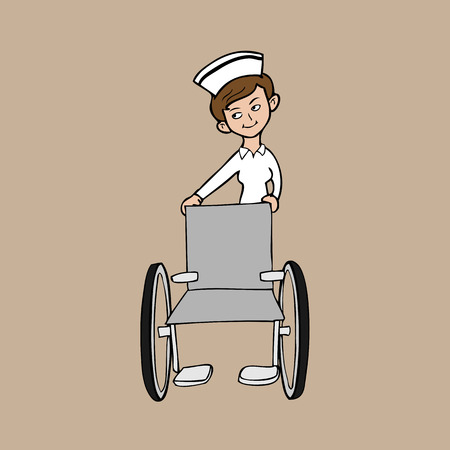 nursing uniforms: Nurse wheelchair character cartoon vector
