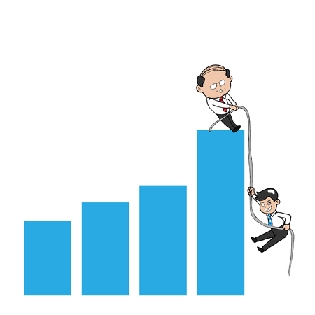 Businessman climb chart by rope helping hands Vector