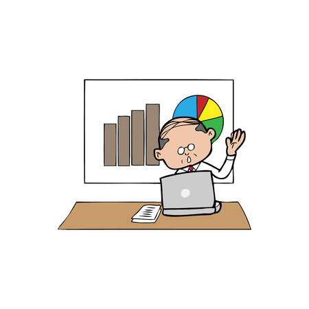 Businessman presents charts cartoon vector Vector