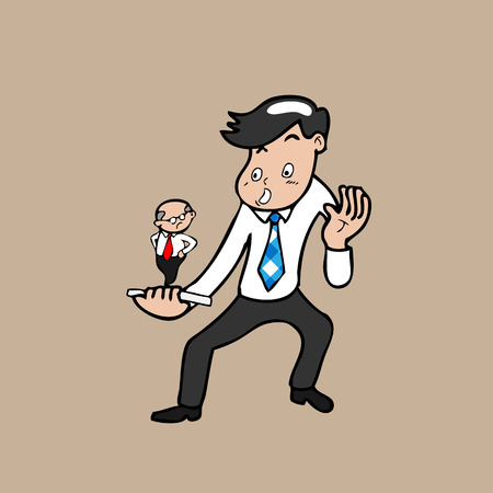 Boss follow businessman by phone Vector
