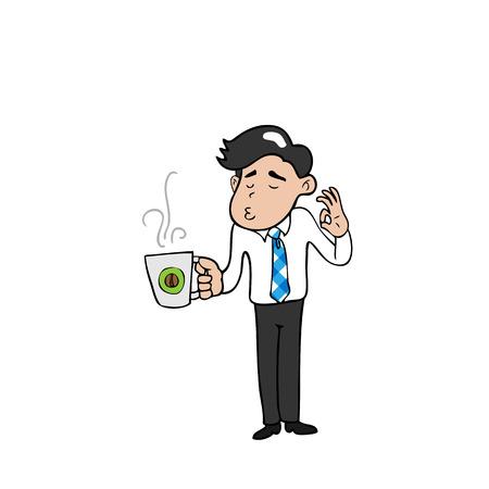 Hombre de negocios y descanso para tomar café de dibujos animados de vectores