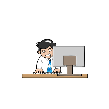 conscious: Businessman out of conscious at work cartoon vector