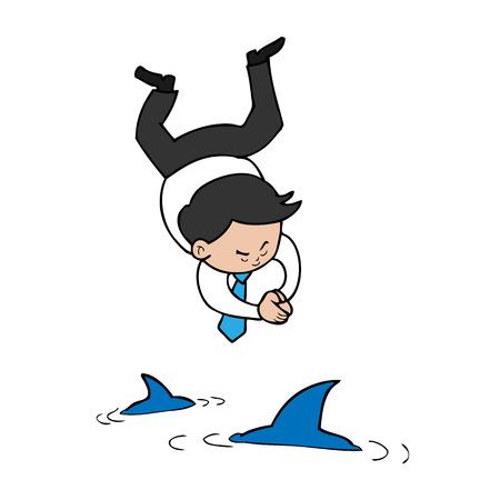 Zakenman degraderen naar zee van haaien Stock Illustratie