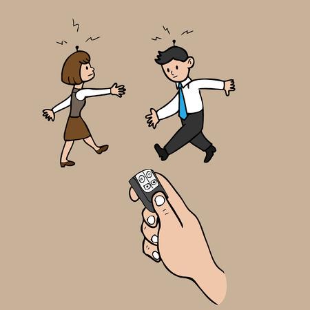 Business people under radio control cartoon vector Vector