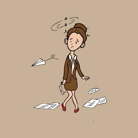Businesswoman exhaust and sway cartoon vector Vector