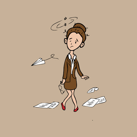 frail: Businesswoman exhaust and sway cartoon vector