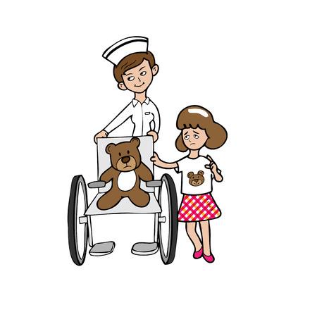 Nurse wheelchair bear girl cartoon vector Vector