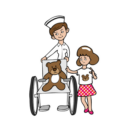 Nurse wheelchair bear girl cartoon vector Vector