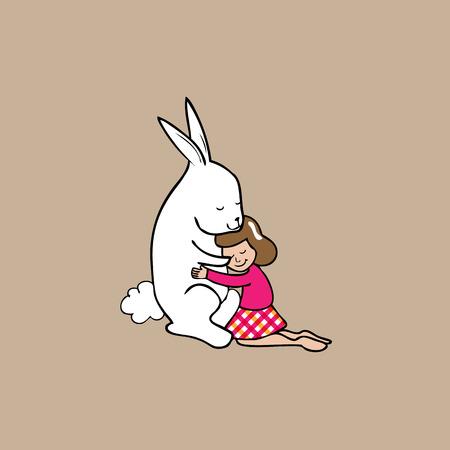 Hug girl and giant rabbit cartoon vector Vector
