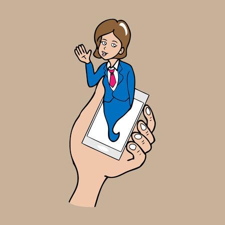 pop up: Kennisgeving pop-up telefoon zaken cartoon vector