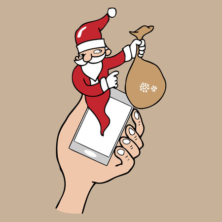 notification: Notification pop up phone Santa cartoon vector