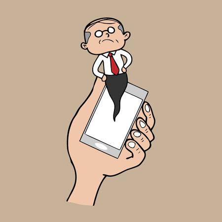 pop up: Kennisgeving pop-up telefoon baas cartoon vector