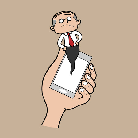 알림: Notification pop up phone boss cartoon vector 일러스트