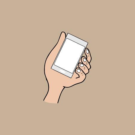 Hand hold smart phone cartoon vector Vector