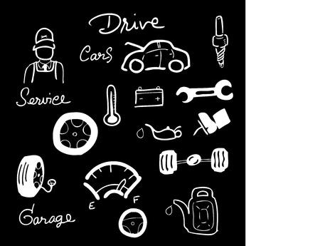 car showroom: Servicio de coche dibujo iconos conjunto pizarra tiza