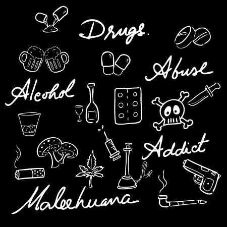 narcotic: Drugs abuse narcotic drawing icons set chalk blackboard Illustration