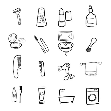 Toilet and cosmetic drawing icons set Vector