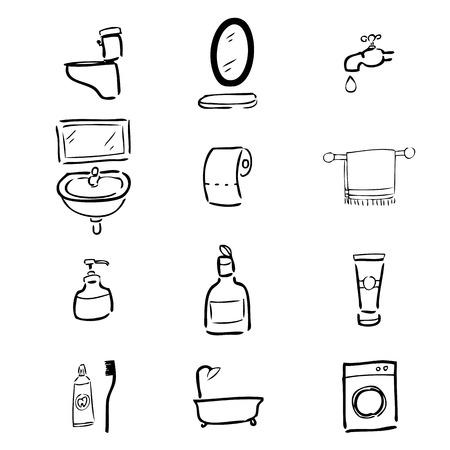 chamber pot: Toilet drawing icons set cartoon 2 Illustration