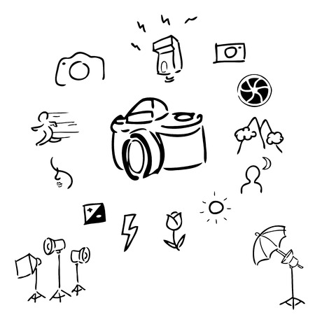 Camera accessories drawing icons set