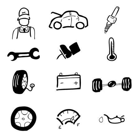 Car service drawing icons set Vector