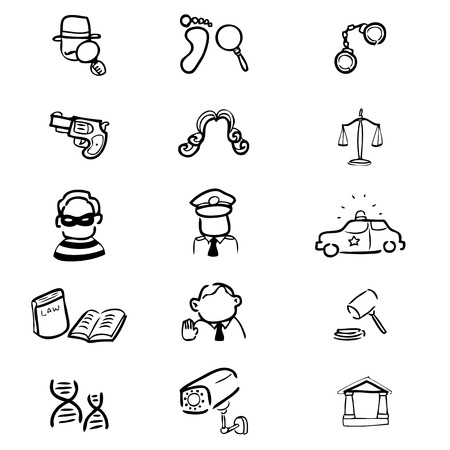 judgment: Crime and judgment drawing icons set Illustration