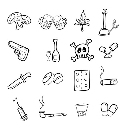 heroin: Drugs abuse narcotic drawing icons set Illustration
