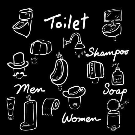 chamber pot: Toilet drawing icons set chalk blackboard