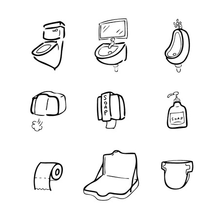 Toilet drawing icons set cartoon Vector