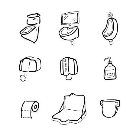 chamber pot: Toilet drawing icons set cartoon Illustration