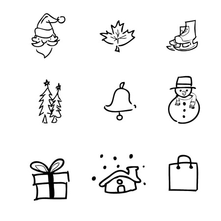 chinese holly: Christmas icons Chinese brush drawing