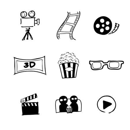 Movie cinema icons Chinese brush drawing Illustration
