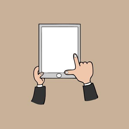 Hands and tablet cartoon vector Vector