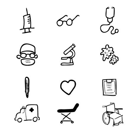 bacteria microscope: Hospital icons Chinese brush drawing