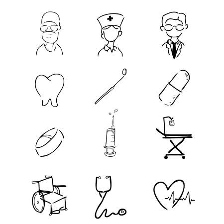hospital germ: Doctor icons set drawing line Illustration