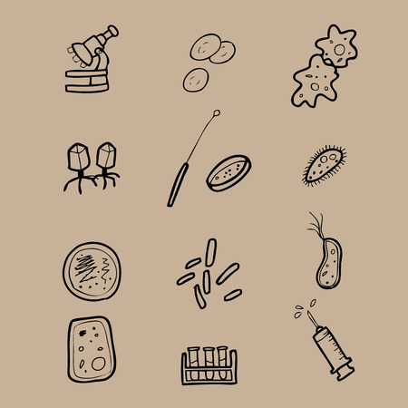 Pathology and microbiology lab drawing icons Vector