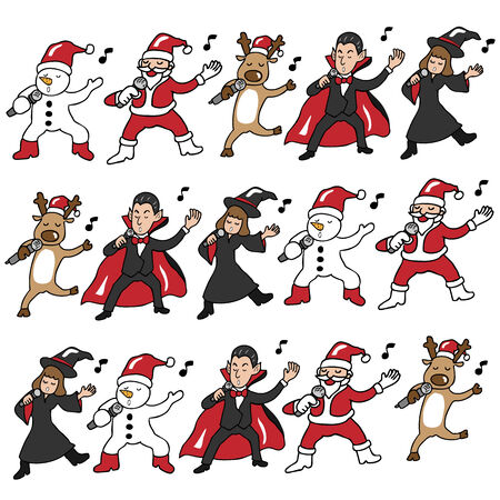 glee: Christmas and Halloween team singing pattern