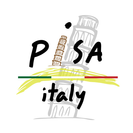 pisa: Italy Pisa travel poster cartoon