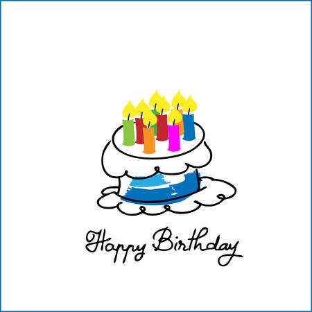 Birthday cake cartoon drawing vector