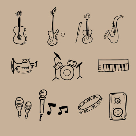 Music instruments drawing icons set Vector