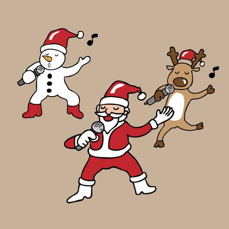 Santa and team singing cartoon vector