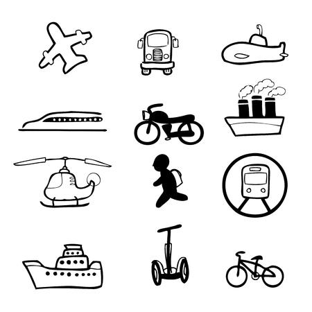 shinkansen: Transportation drawing icons set cartoon Illustration