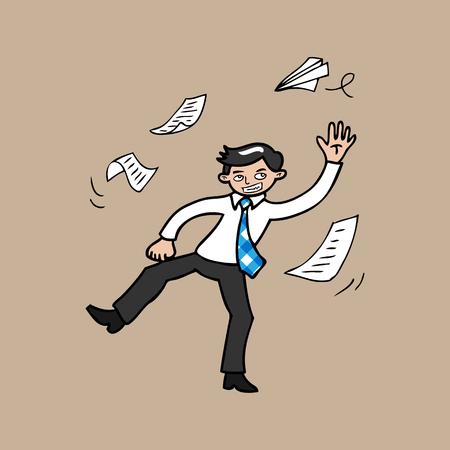 throwing paper: Businessman paper flying cartoon vector