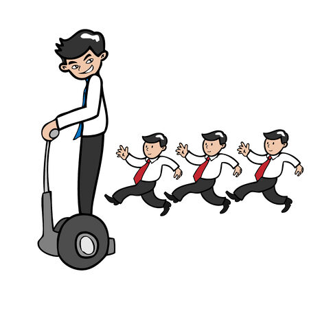 faster: Businessman moves faster by segway cartoon vector