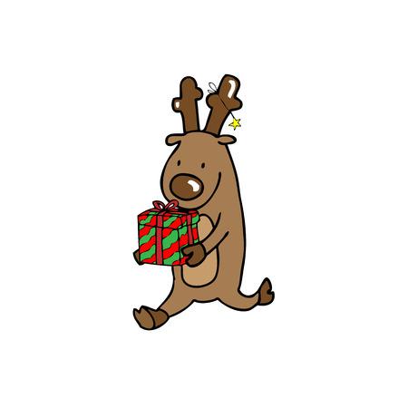 caribou: Reindeer carries gift box cartoon vector