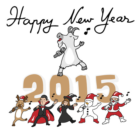 gleeful: Happy New Year 2015 goat and teams singing